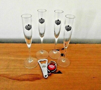 4 Smirnoff Stemmed Shot Glasses With Smirnoff Ice Bottle Opener And Clip Holder