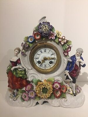 Von Shierholz Plaue Porcelain Clock Lenzkirch Movement