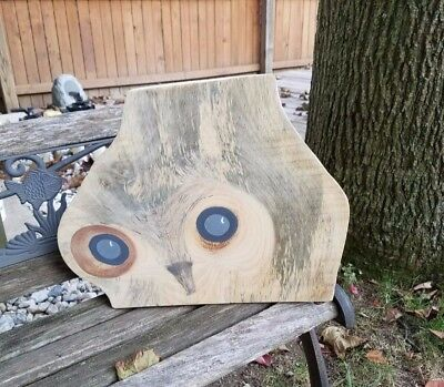 hand painted owl on natural pine - original one of a kind