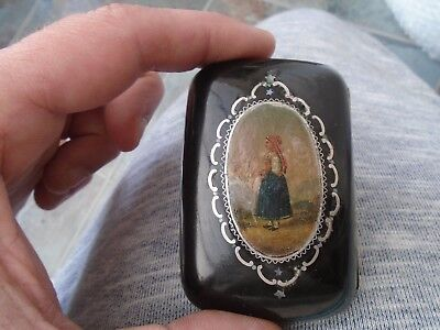 unusual antique papier mache coin purse with hand painted image  rare thing LOOK
