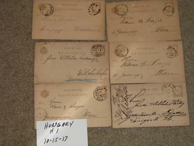 6 Early Postal Cards from Hungary, all used