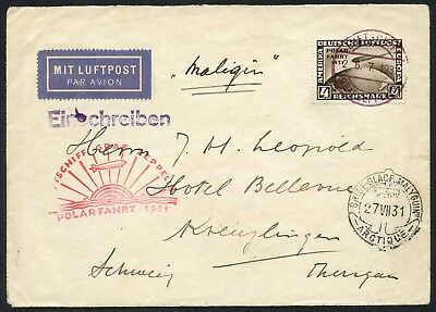 #c42 On Board Cnl Zeppelin Flt Cover 7/26/1931 Polar Flt Breaker Malygin Wlm4542