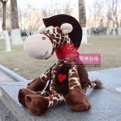 Cute  25 cm brown Cowboy giraffes Stuffed Animals Plush toys baby doll toy