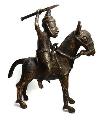 Mega Rare Antique African Tribal Benin Cast Bronze Horse Riding Warrior