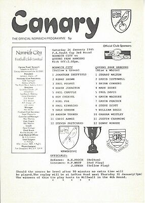 NORWICH CITY v QUEENS PARK RANGERS 84-5 F A Youth Cup Programme