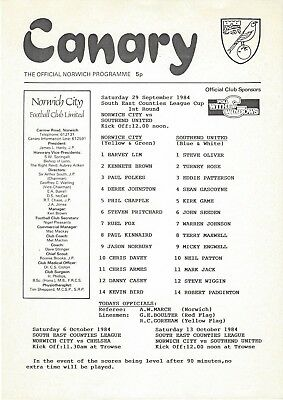NORWICH CITY YOUTH v SOUTHEND UNITED 84-5 South East Counties League Cup