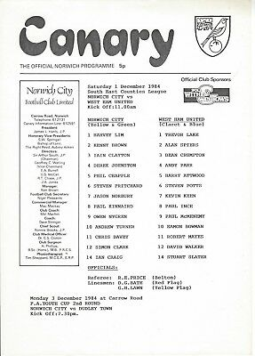 NORWICH CITY YOUTH v WEST HAM UNITED 84-5 South East Counties League
