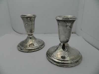 STERLING SILVER PAIR of CROWN CANDLE STICK HOLDERS