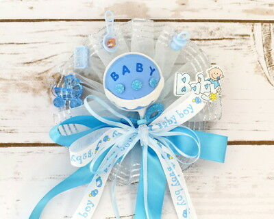 Blue Baby Shower Pin Corsage Sash Its A Boy Diy Baby Rattle Ribbon