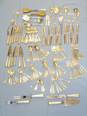 LOT of 132 pcs STERLING FAIRFAX by GORHAM SERVING FLATWARE SET + 4 EXTRA SERVING