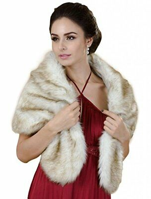M4U Brides Champagne Faux Fur Wedding Shawl Perfect for Wedding/party/show Wraps