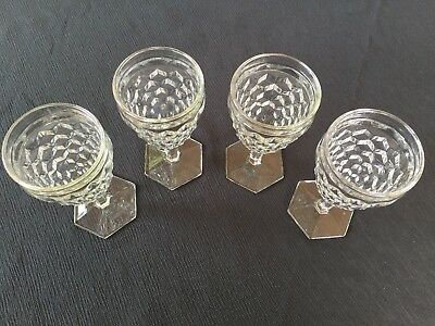 Lot of 4 Fostoria American Goblets 10 oz. with hexagonal foot and long stem