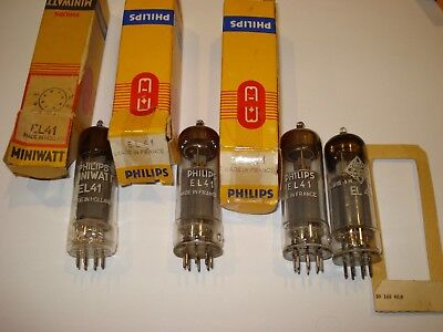 Four vintage EL41  tubes Philips Miniwatt Telefunken tested