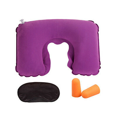 New Inflatable Travel Pillow Air Cushion Neck U-Shaped Compact Plane Set UK