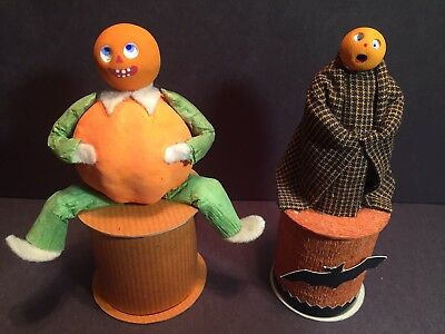 Two Vintage Style Halloween Candy Container Pumpkins Signed Casey Mack 1996