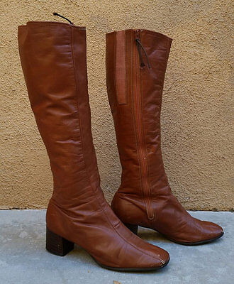 6f7534296f7e2 VINTAGE SELBY 1960S Brown Tan Leather Boots Womens Gogo Knee High Wooden  Boots 8