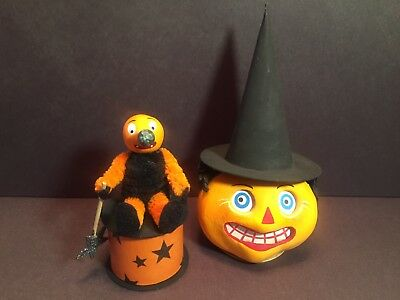 Two Vintage Style Halloween Candy Container Pumpkins Signed Casey Mack