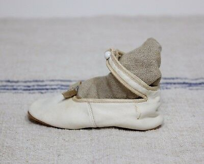 1 Antique Victorian Baby Button Up Shoes For Doll Or Child White Leather Buckle