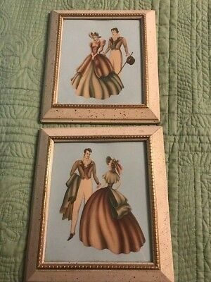 Pair of Vintage Mid Century 1950's Framed Pink and Blue Lady and Man Print