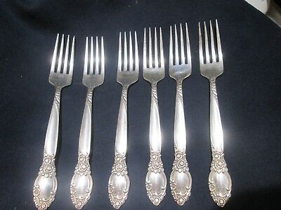 Set 6 Wallace Harmony House Silverplate DANISH QUEEN dinner Forks v.good