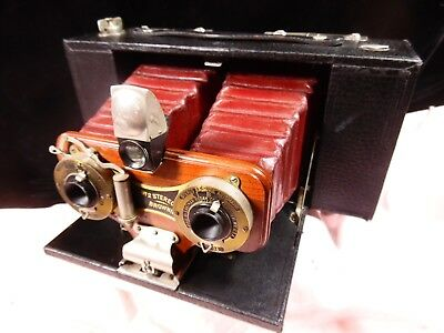 Beautiful Antique Stereo Camera Brownie 2 Kodak Maroon Bellows Must See!
