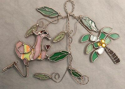 Chillin' Flamingo Coconut Tree Stained Glass Sun Catcher Metal