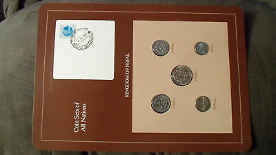 Coin Sets of All Nations Nepal Brown 1979 - 1986  UNC stamped 4OCT87