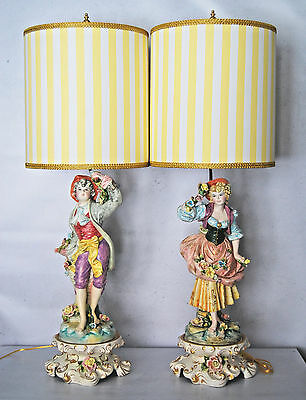 Beautiful Pair Benrose Capodimonte Figural Lamps-Fully Restored W/ Custom Shades