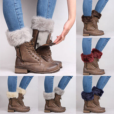 Women Winter Leg Warmers Lady Crochet Knit Fur Trim Leg Boot Socks Toppers Cuffs