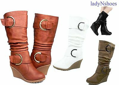 NEW Women's Fashion Round Toe Buckle Wedge Mid Calf Knee High Boots Size 5 -10