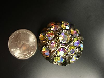 """Large gaudy antique rhinestone and pewter? button 1 1/4"""""""
