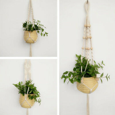 Pot Holder Macrame Plant Hanger Hanging Planter Basket Jute Rope Braided Craft/
