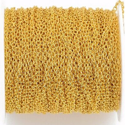 1 yard (3 feet) Bright Gold Plated Cable Chain, Oval Links are 2.5x2mm fch0783a