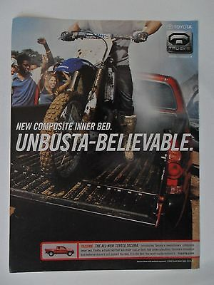 2005 Print Ad Toyota Truck 4x4 ~ Unbusta-Believable Motorcycle on Inner Bed
