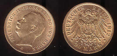 20 Mark Gold Baden Friedrich II. 1912