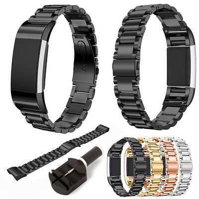 Replacement Metal Stainless Steel Watch Band Clasp Bracelet For Fitbit Charge 2