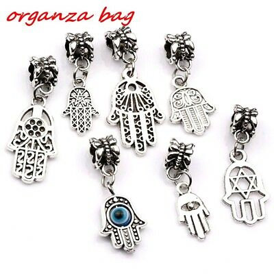 14pcs Antique silver Alloy mix Hamsa Hand Dangle Bead Fit Charm Bracelet