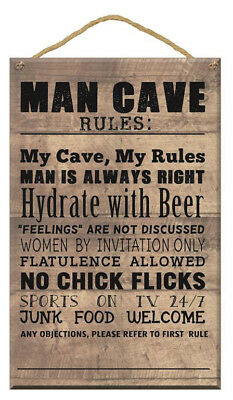 Gift Wooden Plaque Man Cave Message Star Design Beer Hanging Home Decoration