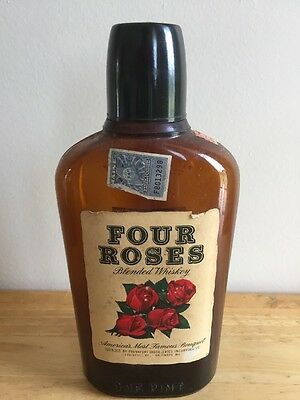 Antique Four Roses Half Pint Whiskey Bottle w/Labels, Cap and Stamp