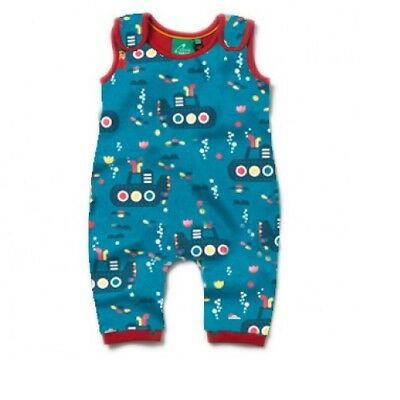 Little Green Radicals Organic DUNGAREES 0 3 6 9 12  Under the Sea LGR