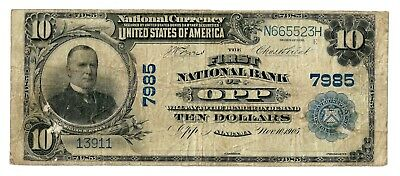 Opp, Alabama (AL) $10 Large, Blue Seal 1902 National Bank Note, Ch 7985