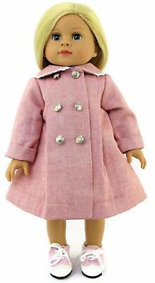 "Pink Coat with Silver Buttons fits 18"" American Girl Doll Clothes"