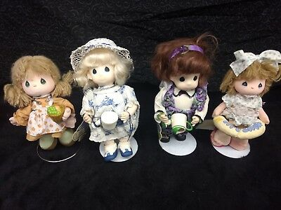 Lot of 4 Vintage Precious Moments Dolls w/ Stands