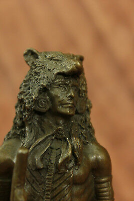 Vintage Solid Cast Bronze Sitting Bull -native American Indian Chief Figurine