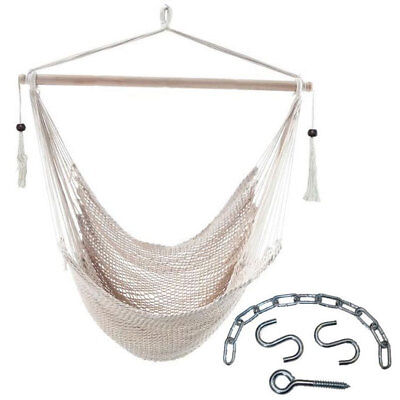 White Cotton Rope Hammock Chair with Tassels + Hanging Kit