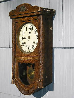 Old Clock Sponge Paint on Wood Regulator Art Crafts Look~as found Unknown Age