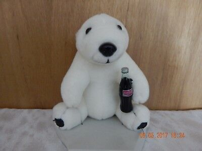 1993 Coca Cola Plush White Polar Bear Holding Plastic Coke Bottle Stuffed Animal
