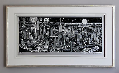 "Charles Fazzino ""Manhattan Moonlight"", seltene Original-3D-Alu-Swarovski-Version"