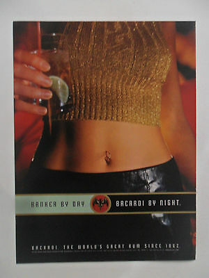 1998 Print Ad Bacardi Rum ~ Banker by Day Sexy Girl by Night Naval Pierced Ring