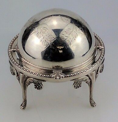 Antique John Biggin Sheffield Silver Plated Revolving Butter Dish Apex England